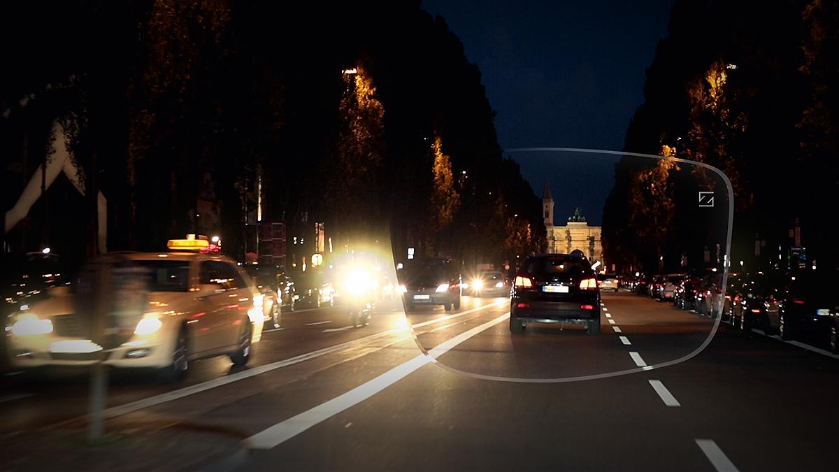 Reduceret blænding om natten fra modkørende biler og vejbelysning